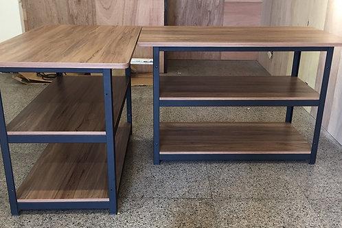 角鋼工作桌L型櫃檯訂做W140D80H90x2座(尺寸可訂做,含安裝)