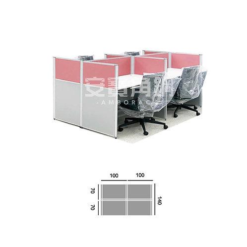 4人辦公屏風-工字型對坐