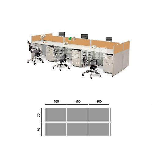 6人辦公屏風-工字型對坐無中隔