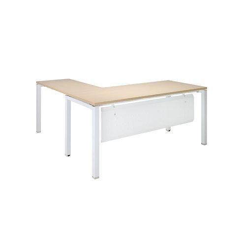方管L型主管桌160x160-含擋板(桌板4色可選)