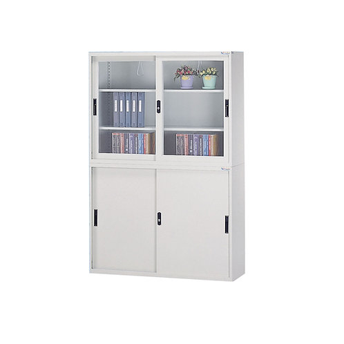 辦公鐵櫃組合-上櫃三層櫃-下櫃三層櫃附文件抽屜x2-寬度118cm