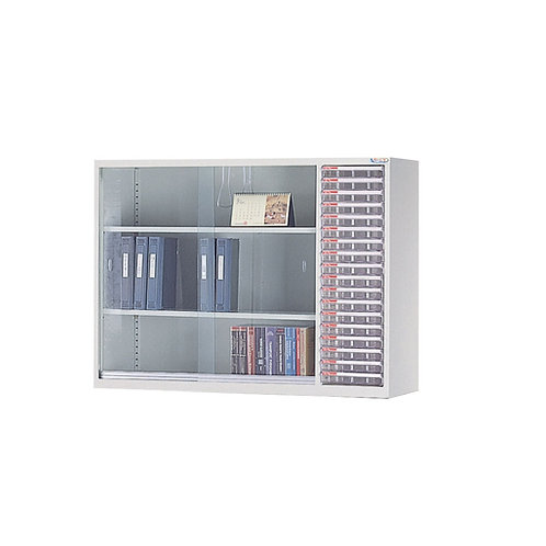 辦公鐵櫃-三層公文櫃附A4文件抽屜18抽-寬118cm