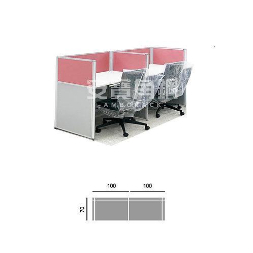 2人辦公屏風-一字型