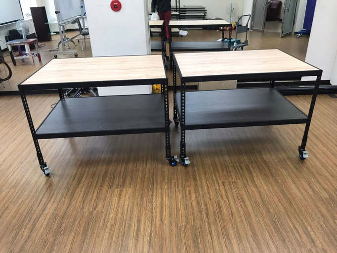 黑砂紋角鋼+美芯板:矮桌兩層板+配件-輪組
