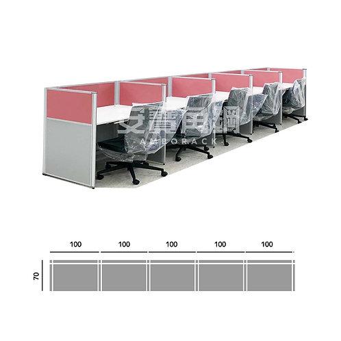 5人辦公屏風-一字型