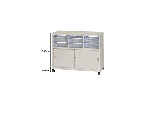 矮櫃附輪-上櫃附文件抽x9-W93.1xD40.2xH74cm