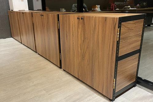工業風黑砂紋角鋼置物櫃(含門片)-W90xD45xH90三層兩格(單座,尺寸可訂做,貼皮可選,雙北桃竹含安裝)