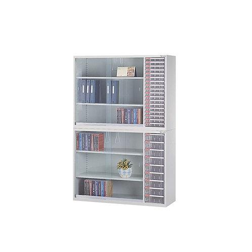 辦公鐵櫃組合-上下櫃三層櫃附文件抽屜-寬度118cm