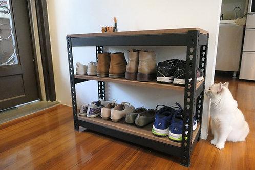 黑砂紋角鋼鞋架三層架W75xD30xH60(18mm美芯板,尺寸可訂製、可選貼皮)