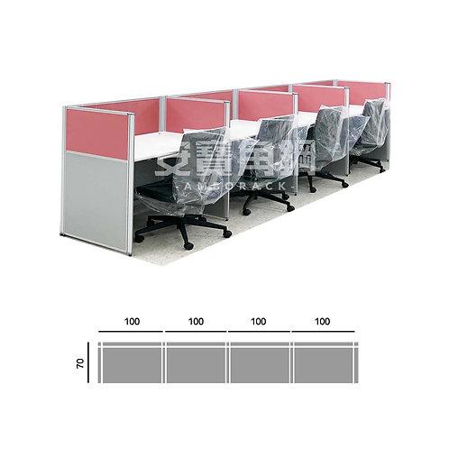4人辦公屏風-一字型