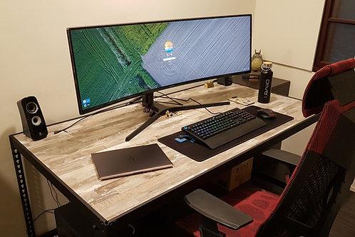 DIY黑砂紋角鋼工作桌W165xD90xH75(內嵌板,尺寸可訂製、可選貼皮)