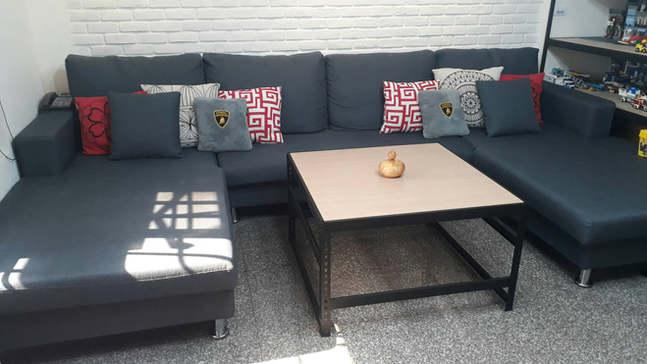 橡木色貼皮夾板-桌板內嵌式角鋼桌角鋼茶几訂做