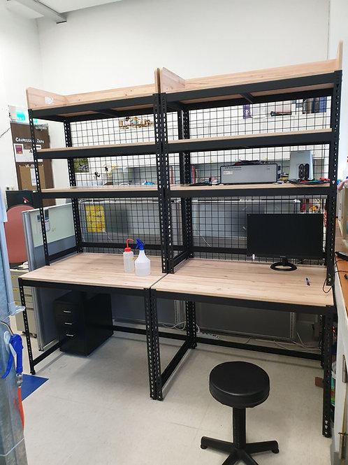 角鋼書桌層架二合一-訂做W105D75H195(尺寸可訂做,含安裝,單座)