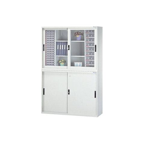 辦公鐵櫃組合-上下櫃三層櫃附文件抽屜x2-寬度118cm