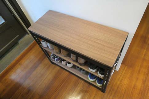 安寶角鋼鞋櫃訂做 美芯板貼皮色:切爾克斯核桃