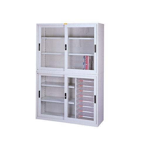 辦公鐵櫃組合-上櫃三層櫃-下櫃三層櫃附文件抽屜-寬度118cm
