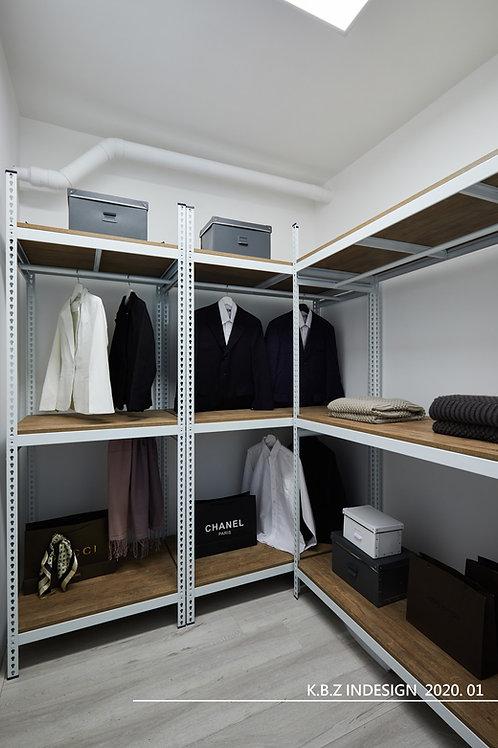 白色角鋼衣架衣櫃訂做DIY安裝-W120xD60xH210三層兩格