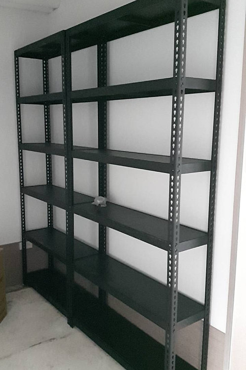 DIY黑砂紋角鋼置物架貨架倉儲架-W105xD30xH210六層五格(尺寸可訂做)