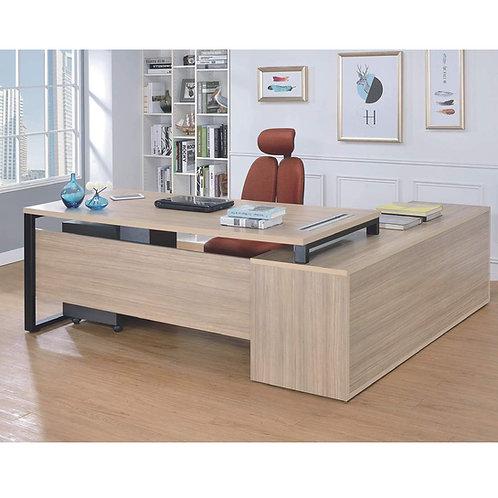 只有一組出清價-九成新的高級摩卡柚木L型主管桌180x182