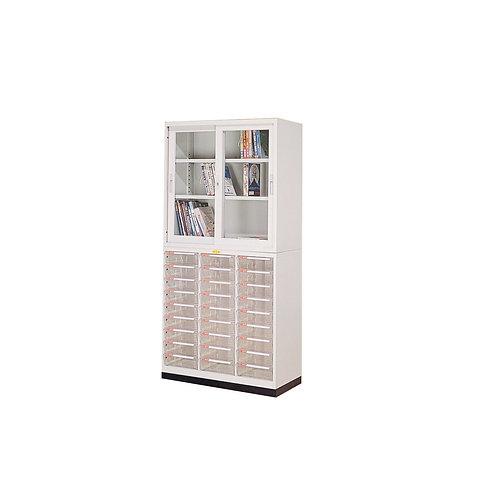 辦公鐵櫃組合-上櫃三層櫃-下櫃附文件抽屜x27-寬度93.1cm