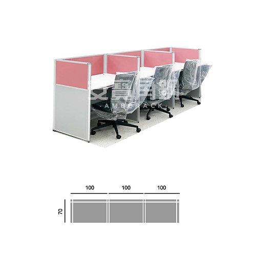 3人辦公屏風-一字型
