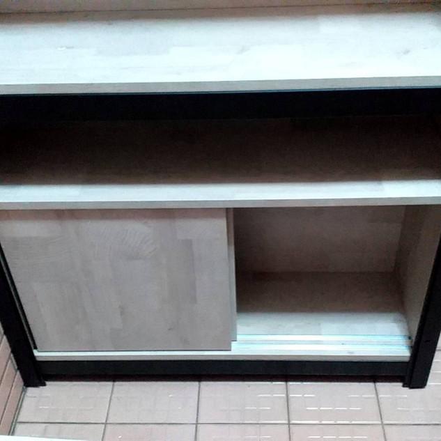 W90D30H45滑門底櫃訂做(角鋼架內嵌櫃) 色號:拉帕洛橡木 角鋼估價區估價
