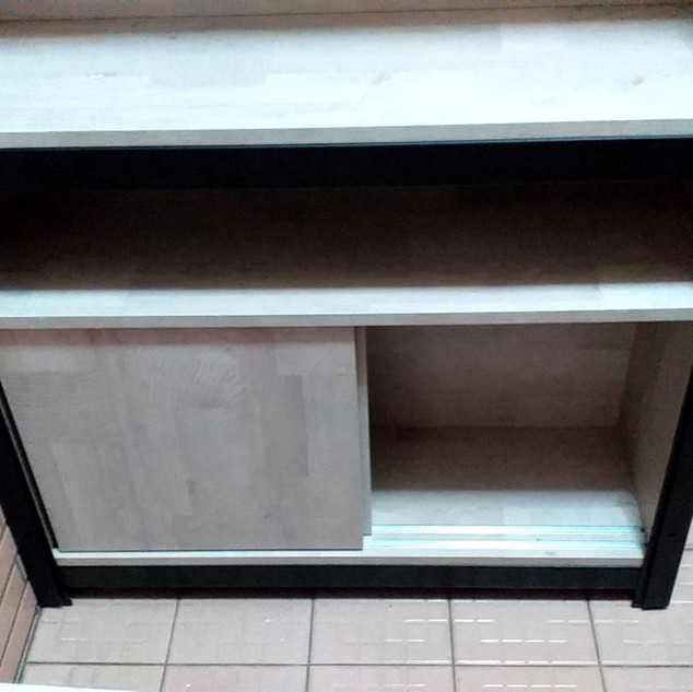 W90D30H45滑門底櫃訂做(角鋼架內嵌櫃) 色號:拉帕洛橡木