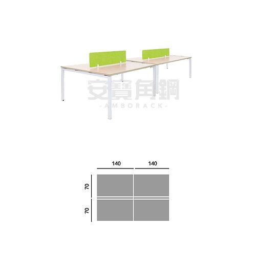 4人辦公屏風-對坐開放桌屏