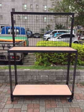 黑砂紋角鋼+橡木色pvc貼皮夾板,配件:井網+輪組