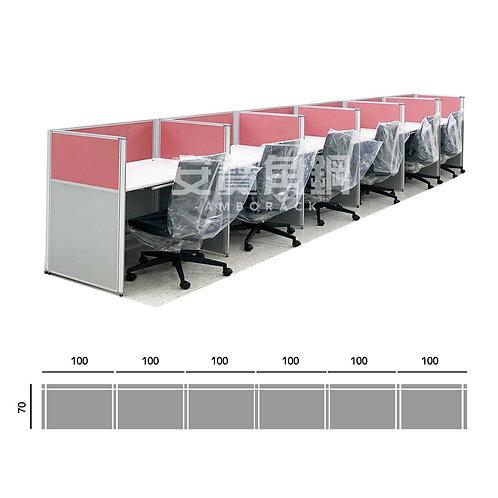 6人辦公屏風-一字型