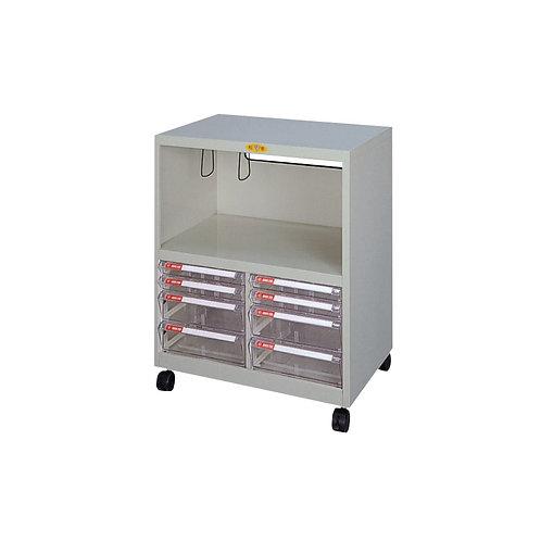矮櫃附輪-下櫃附文件抽x8-W62.9xD40.2xH74cm