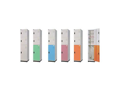 全鋼門片-三格(1中2小)鑰匙置物衣櫃(高)W39.3D45H185.2cm