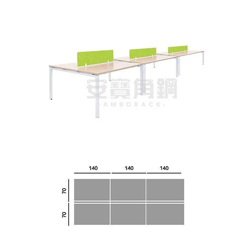 6人辦公屏風-對坐開放桌屏
