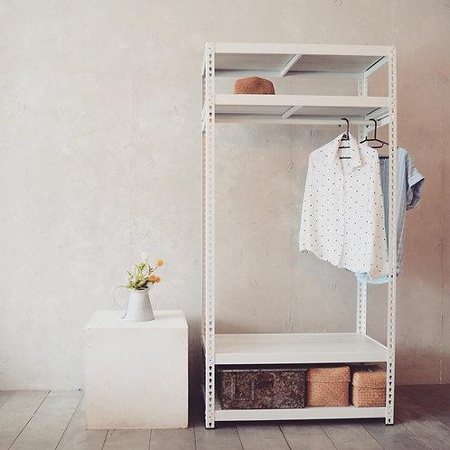 工業風免螺絲角鋼衣架-優雅白180cm高四層架