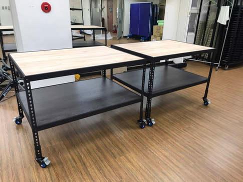角鋼桌角鋼茶几訂做(上層里斯本橡木,下層龐貝黑杉)兩層含輪組-桌板內嵌式8mm美芯板