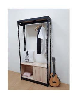 角鋼衣櫃層架組訂做-角鋼架+吊衣桿+拉門底櫃