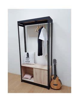 角鋼衣櫃+底櫃滑門櫃