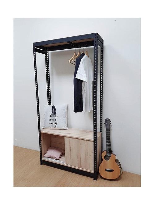 DIY工業風角鋼衣櫃組訂做W90D30H180(頂單層,含吊衣桿組x1,滑門櫃x1,雙北桃竹免運)