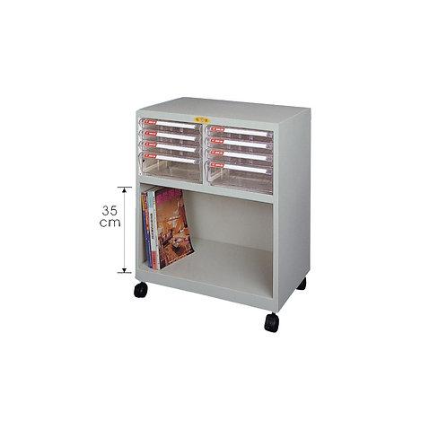 矮櫃附輪-上櫃附文件抽x8-W62.9xD40.2xH74cm