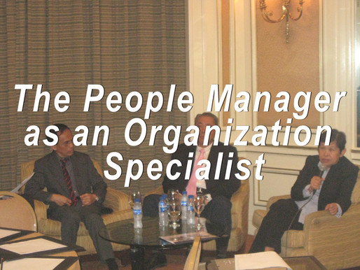 The PEOPLE/HR MANAGER as an ORGANIZATION SPECIALIST