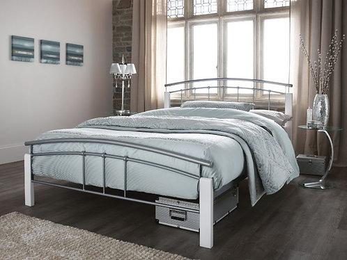 Serene Tetras Bed Frame - White/Silver