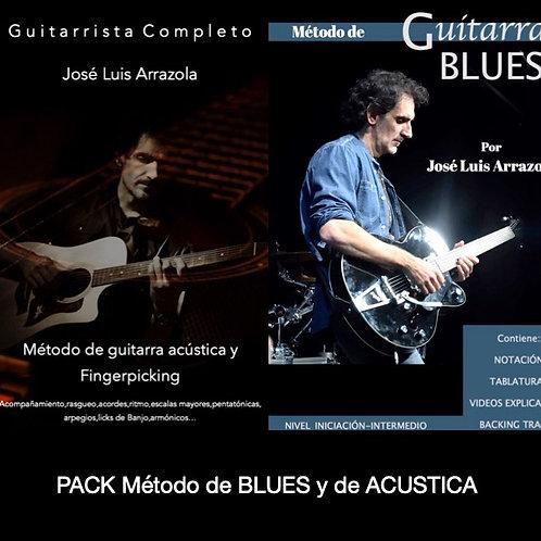 PACK CUATRO MÉTODOS-Acústica-Blues-Acordes y Guitarrista completo