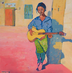 Meena à la guitare