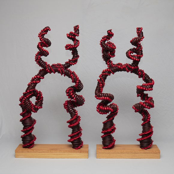 Red Double Helix in Wood 2011