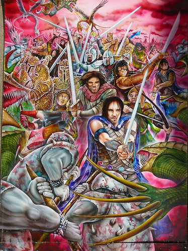 Battle for Deltora. Original painting from Tales of Deltora 100 x 75 cm.