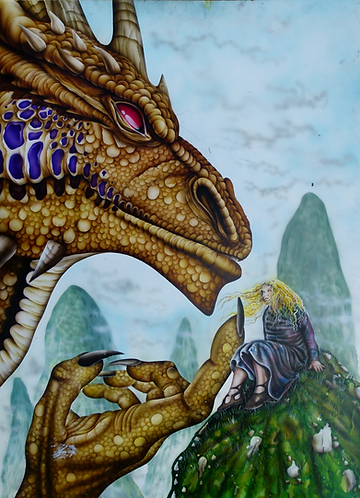 The Golden Dragon Original painting from tales of Deltora 100 X 75 cm