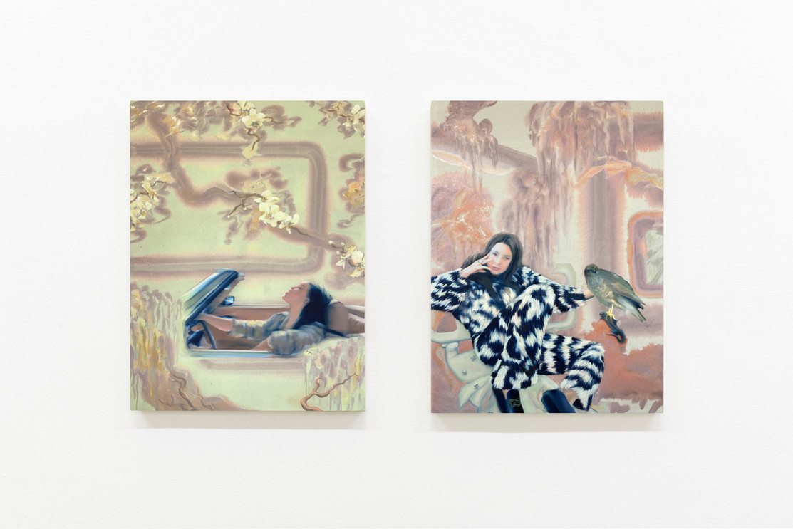left: TAKE AWAY' 60 x 45 cm, oil and metalpigment on canvas. 2021     |    right: VAIRUMATI' 60 x 45 cm, oil and metalpigment on canvas. 2021