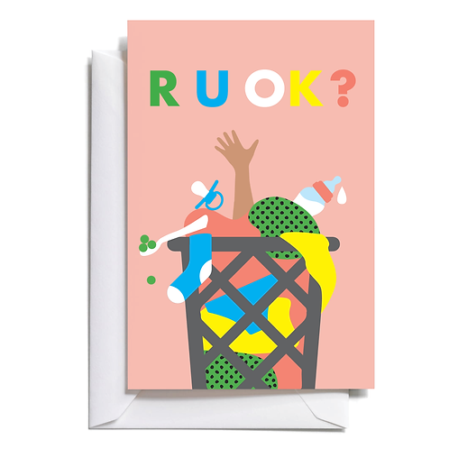R U OK? Mini greeting card.