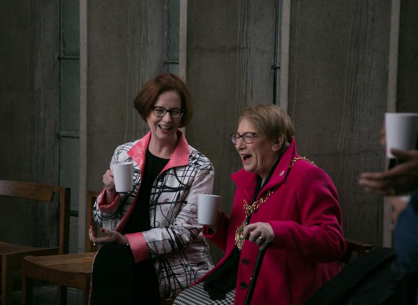 Julia Gillard and Lord Mayor Linda Bigham