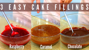 3 easy cake fillings! Raspberry jam, caramel and chocolate ganache